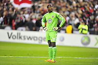 United goalkeeper, Bill Hamid checks the reply on the monitor. Sporting Kansas City defeated D.C. United 1-0 an the MLS home opener at the RFK Stadium in Washington, D.C. on Saturday, March 10, 2012. Alan P. Santos/DC Sports Box