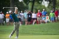 Adam Scott nails his approach into the 13th during the opening round of the US PGA Championship at Valhalla (Photo: Anthony Powter) Picture: Anthony Powter / www.golffile.ie