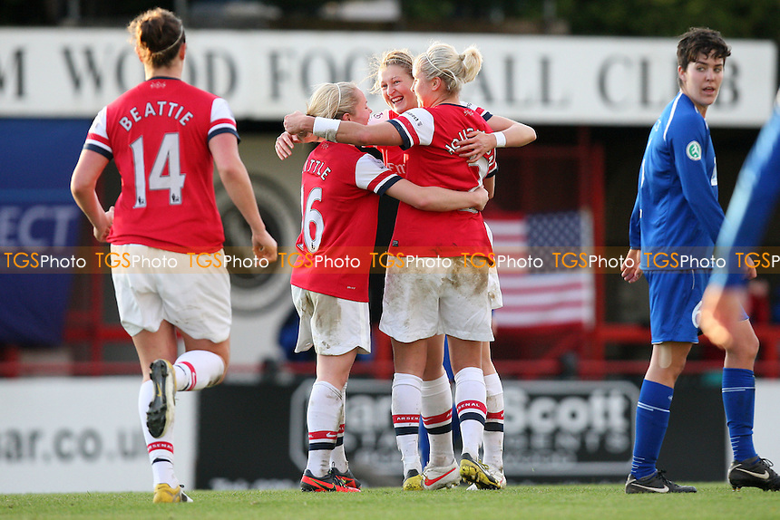 Arsenal celebrate their second goal scored by Ellen White (C) - Arsenal Ladies vs 1 FFC Turbine Potsdam - UEFA Womens Champions League Round of 16 1st Leg Football at Boreham Wood FC - 01/11/12 - MANDATORY CREDIT: Gavin Ellis/TGSPHOTO - Self billing applies where appropriate - 0845 094 6026 - contact@tgsphoto.co.uk - NO UNPAID USE.