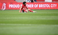 15th July 2020; Ashton Gate Stadium, Bristol, England; English Football League Championship Football, Bristol City versus Stoke City; Jay Dasilva of Bristol City catches his breath at the final whistle