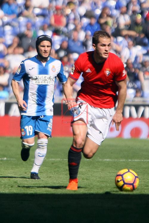 League Santander 2016/2017. Game: 24.<br /> RCD Espanyol vs CA Osasuna: 3-0.<br /> Pablo Piatti vs Causic.