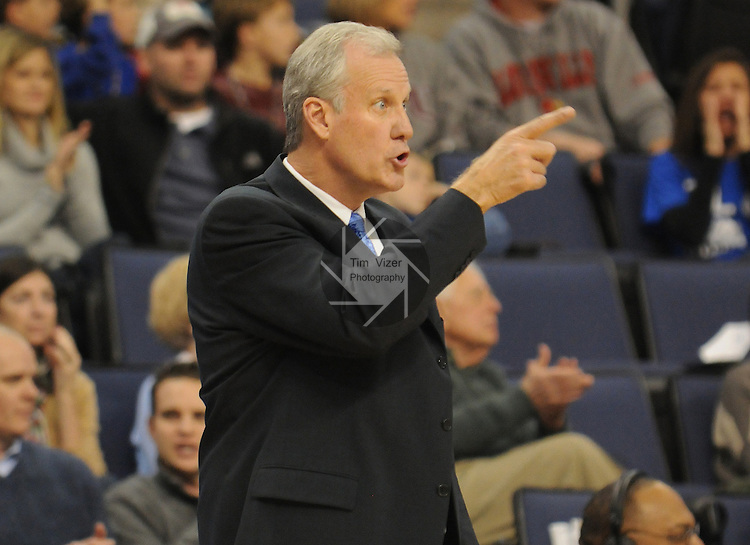 Saint Louis Billikens head coach Jim Crews in the first half during a non-conference game between the St. Louis University Billikens and the Southern Illinois University-Carbondale Salukis on November 24, 2012 at the Chaifetz Arena in St. Louis Missouri.  The Billikens won, 61-51.