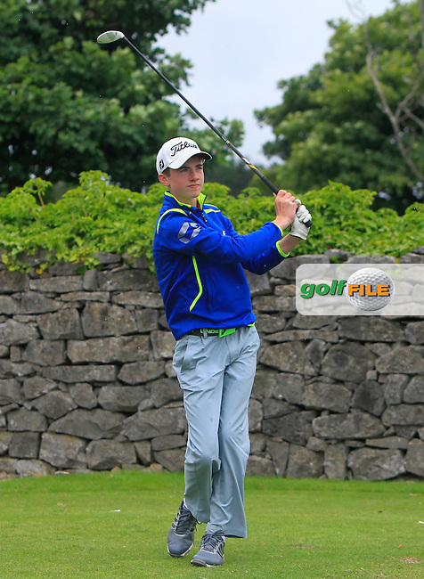 Conor Meade (East Clare) on the 1st tee during R2 of the 2016 Connacht U18 Boys Open, played at Galway Golf Club, Galway, Galway, Ireland. 06/07/2016. <br /> Picture: Thos Caffrey | Golffile<br /> <br /> All photos usage must carry mandatory copyright credit   (&copy; Golffile | Thos Caffrey)
