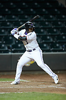 Yeyson Yrizarri (2) of the Winston-Salem Dash at bat against the Wilmington Blue Rocks at BB&T Ballpark on April 15, 2019 in Winston-Salem, North Carolina. The Dash defeated the Blue Rocks 9-8. (Brian Westerholt/Four Seam Images)