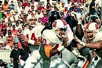 Vinnie Testaverde, #14, Tampa Bay Bucs, Atlanta Falcons at Tampa Bay Buccaneers.  The Bucs beat the Falcons 23-17  at Tampa Stadium on December 2, 1990, Tampa, Florida.  (Photo by Brian Cleary/bcpix.com)