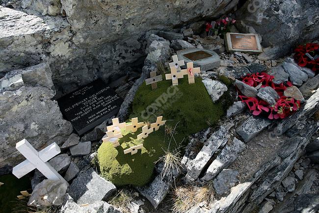 British Memorial, Mount Longdon, site of the bloodiest battle of the British / Argentine Falklands War. Six miles from Stanley, East Falkland..November 2006