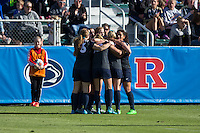 Cary, North Carolina - Sunday December 6, 2015: The Penn State Nittany Lions celebrate after Raquel Rodriguez (right) scored what would turn out to be the only goal of the game against the Duke Blue Devils at the 2015 NCAA Women's College Cup at WakeMed Soccer Park.  The Nittany Lions defeated the Blue Devils 1-0.