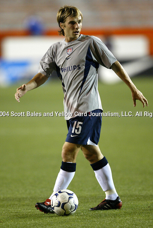 13 March 2004: Bobby Convey during pregame warmups. The United States tied Haiti 1-1 in an international friendly at the Orange Bowl in Miami, FL..