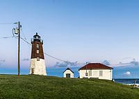 Judith Point Lighthouse and Coast Guard Station, Narragansett, Rhode Island, USA.