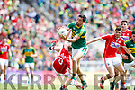 Anthony Maher Kerry in action against Ruairi Deane Cork in the Munster Senior Football Final at Fitzgerald Stadium on Sunday.