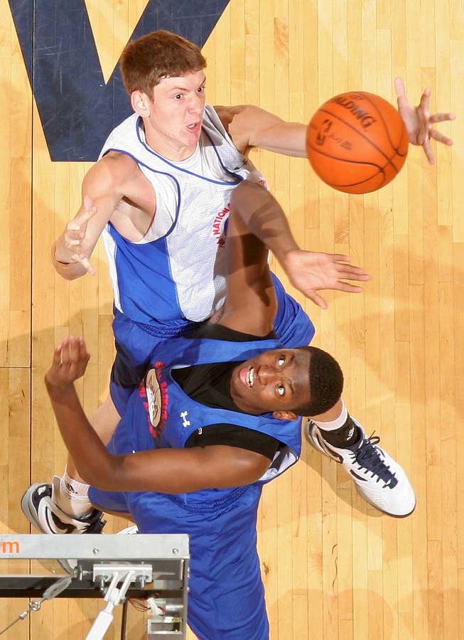 Hunter Mickelson at the NBPA Top100 camp at the John Paul Jones Arena Charlottesville, VA. Visit www.nbpatop100.blogspot.com for more photos. (Photo © Andrew Shurtleff)
