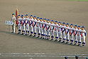 Riseisha team group,<br /> APRIL 2, 2014 - Baseball :<br /> Runners-up Riseisha players line up during the closing ceremony after the 86th National High School Baseball Invitational Tournament final game between Ryukoku-Dai Heian 6-2 Riseisha at Koshien Stadium in Hyogo, Japan. (Photo by Katsuro Okazawa/AFLO)