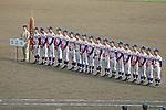 Riseisha team group,<br /> APRIL 2, 2014 - Baseball :<br /> Runners-up Riseisha players line up during the closing ceremony after the 86th National High School Baseball Invitational Tournament final game between Ryukoku-Dai Heian 6-2 Riseisha at Koshien Stadium in Hyogo, Japan. (Photo by Katsuro Okazawa/AFLO)