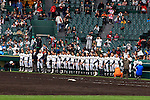 Tokai Daiyon team group,<br /> APRIL 1, 2015 - Baseball :<br /> Tokai Daiyon players line up after the 87th National High School Baseball Invitational Tournament final game between Tokai University Daiyon 1-3 Tsuruga Kehi at Koshien Stadium in Hyogo, Japan. (Photo by Katsuro Okazawa/AFLO)