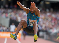 Christian TAYLOR of USA in the Long Jump during the Sainsbury's Anniversary Games, Athletics event at the Olympic Park, London, England on 25 July 2015. Photo by Andy Rowland.