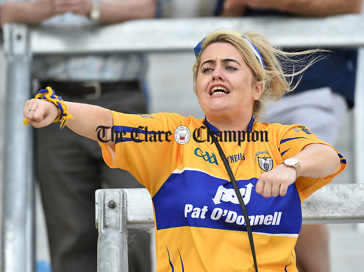 Shane O Donnell of Clare in action against Damien Reck of Wexford during their All-Ireland quarter final at Pairc Ui Chaoimh. Photograph by John Kelly.