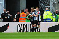 Dwight Gayle of Newcastle United celebrates scoring the opening goal of the game during Newcastle United vs Chelsea, Premier League Football at St. James' Park on 13th May 2018