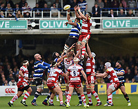 Taulupe Faletau of Bath Rugby wins the ball at a lineout. Aviva Premiership match, between Bath Rugby and Gloucester Rugby on April 30, 2017 at the Recreation Ground in Bath, England. Photo by: Patrick Khachfe / Onside Images