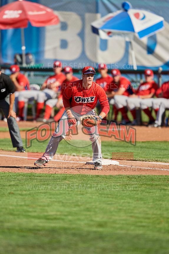 David MacKinnon (19) of the Orem Owlz on defense against the Ogden Raptors at Lindquist Field on September 10, 2017 in Ogden, Utah. Ogden defeated Orem 9-4. (Stephen Smith/Four Seam Images)
