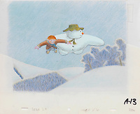 BNPS.co.uk (01202 558833)<br /> Pic: Bonhams/BNPS<br /> <br /> PICTURED:  The Snowman: an original animation cel of The Snowman and James flying together.<br /> <br /> Original animation cells from the Christmas film 'The Snowman' have sold at auction for £14,000.<br />  <br /> The 16 drawings were sketched on celluloid plastic and then filmed in sequence to give the impression they were moving.