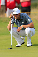 Bernd Wiesberger (AUT) lines up his birdie putt on the 14th green during Thursday's Round 1 of the 145th Open Championship held at Royal Troon Golf Club, Troon, Ayreshire, Scotland. 14th July 2016.<br /> Picture: Eoin Clarke | Golffile<br /> <br /> <br /> All photos usage must carry mandatory copyright credit (&copy; Golffile | Eoin Clarke)
