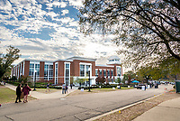 A blue sky over the Colvard Student Union.<br />  (photo by Marco Lopez / &copy; Mississippi State University)