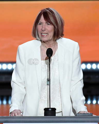 Gold Star Mother Pat Smith makes remarks at the 2016 Republican National Convention held at the Quicken Loans Arena in Cleveland, Ohio on Monday, July 18, 2016.<br /> Credit: Ron Sachs / CNP/MediaPunch<br /> (RESTRICTION: NO New York or New Jersey Newspapers or newspapers within a 75 mile radius of New York City)