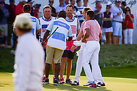 Justin Thomas (USA) and Rickie Fowler (USA) win their match on 16 during round 2 Four-Ball of the 2017 President's Cup, Liberty National Golf Club, Jersey City, New Jersey, USA. 9/29/2017.<br /> Picture: Golffile | Ken Murray<br /> <br /> All photo usage must carry mandatory copyright credit (&copy; Golffile | Ken Murray)