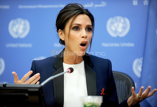 NEW YORK - SEPTEMBER 25: UNAIDS International Goodwill Ambassador, British fashion designer Victoria Beckham attends a press conference on the sideline of the 69th Session of the UN General Assembly at the United Nations in New York on September 25, 2014. Photo Credit:  Dennis Van Tine / MediaPunch