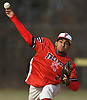 Franklin Gonzalez #2 of Freeport delivers to the plate during the top of the second inning of a non-league varsity baseball game against Bellmore JFK at Cleveland Avenue Field in Freeport on Friday, March 24, 2017. Freeport won by a score of 9-6.
