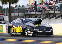 Mar 13, 2015; Gainesville, FL, USA; NHRA pro stock driver Larry Morgan during qualifying for the Gatornationals at Auto Plus Raceway at Gainesville. Mandatory Credit: Mark J. Rebilas-