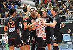 08.02.2020, GER, VBL, SVG Lueneburg vs Berlin Recycling Volleys, im Bild die Berliner Mannschaft jubelt ueber den Sieg/ Foto © nordphoto/ Witke
