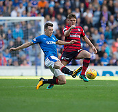 9th September 2017, Ibrox Park, Glasgow, Scotland; Scottish Premier League football, Rangers versus Dundee; Rangers' Ryan Jack and Dundee's Lewis Spence