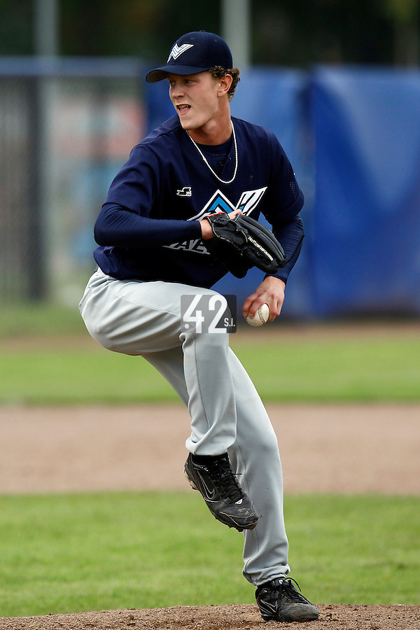 10 September 2011: Scott Randall Ronnenbergh of Vaessen Pioniers pitches during game 4 of the 2011 Holland Series won 6-2 by L&D Amsterdam Pirates over Vaessen Pioniers, in Amsterdam, Netherlands.