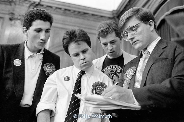 Conservative  party members and candidates, Westminster City Council local election count, Porchester Hall, 1990. The Conservatives, later found guilty of gerrymandering, increased their majority from 4 to 38 seats.