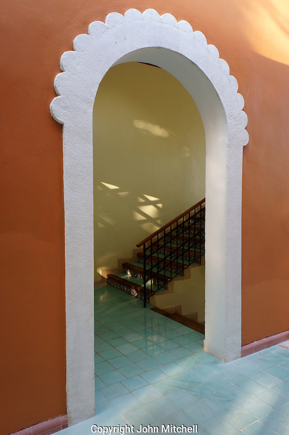 Spanish colonial style archway, Hotel Hacienda Uxmal near the Mayan ruins of Uxmal, Yucatan, Mexico.