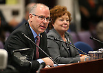 Washoe County Manager John Slaughter and Commissioner Marsha Berkbigler testify in committee at the Legislative Building in Carson City, Nev., on Monday, Feb. 9, 2015. <br /> Photo by Cathleen Allison