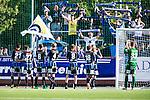 S&ouml;dert&auml;lje 2014-06-07 Fotboll Superettan Assyriska FF - IK Sirius :  <br /> Sirius spelare tackar sina supportrar efter matchen<br /> (Foto: Kenta J&ouml;nsson) Nyckelord:  Assyriska AFF S&ouml;dert&auml;lje Fotbollsarena Hammarby Sirius IKS supporter fans publik supporters jubel gl&auml;dje lycka glad happy