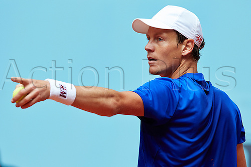 07.05.2014 Madrid, Spain. Tomas Berdych of Czech Republic gestures during the game with Kevin Anderson of RSA on day 4 of the Madrid Open from La Caja Magica.
