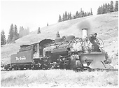 Engineer side view of K-36 #483 with plow at Cumbres.<br /> D&amp;RGW  Cumbres, CO