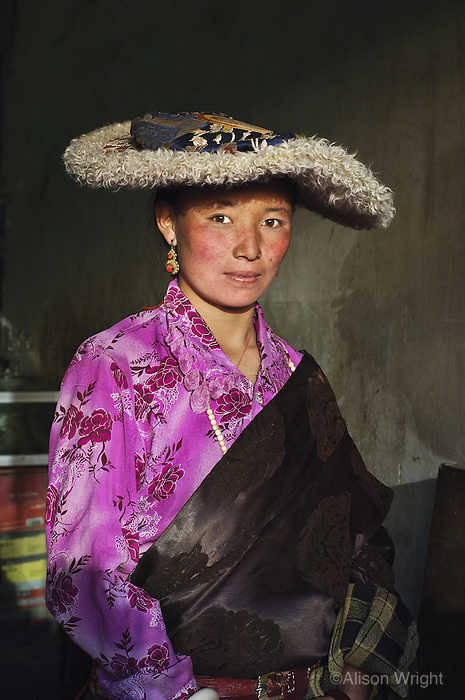 Tibetan woman in hat, 2006
