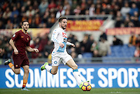 Napoli&rsquo;s Dries Mertens prepares to score his first goal during the Serie A soccer match between Roma and Napoli at the Olympic stadium.<br />  Napoli won 2-1.