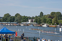 """Henley on Thames, United Kingdom, 6th July 2018, Friday, View, University of Washington, passing the 1 and 1/8 board, as they progress though to """"Saturday's semi final"""", the Friday, Heat,  """"Third day"""", of the annual,  """"Henley Royal Regatta"""", Henley Reach, River Thames, Thames Valley, England, © Peter SPURRIER,"""