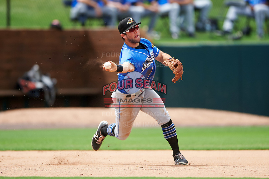 Akron RubberDucks third baseman Joe Sever (9) throws to second base during the first game of a doubleheader against the Bowie Baysox on June 5, 2016 at Prince George's Stadium in Bowie, Maryland.  Bowie defeated Akron 6-0.  (Mike Janes/Four Seam Images)