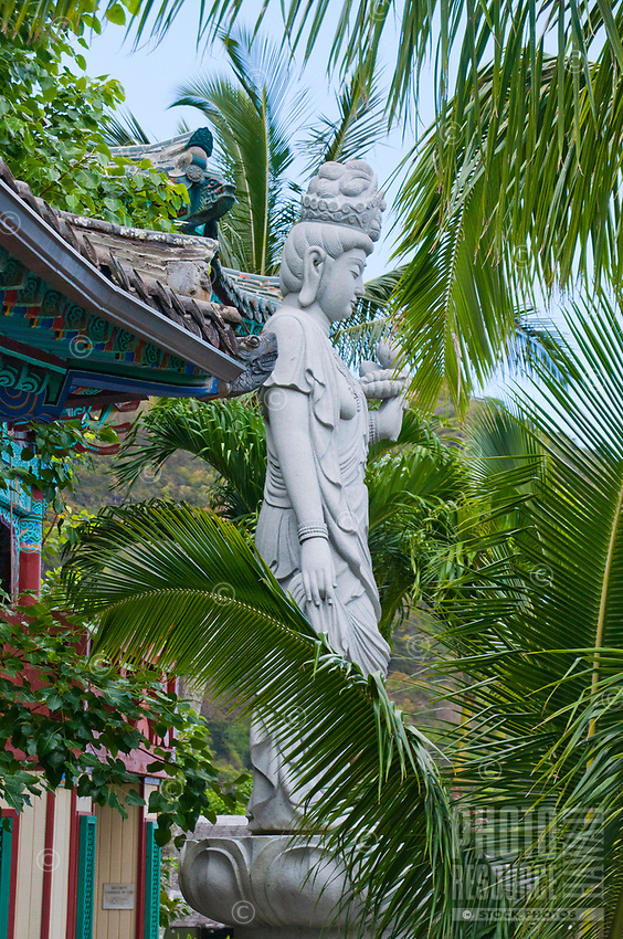 A statue amidst palm fronds at Mu-Ryang-Sa (or Broken Ridge Temple), a Korean Buddhist temple in Palolo Valley, Honolulu, O'ahu, whose offerings include Buddhist teachings and meditation.