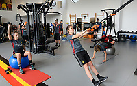 20170608 – TUBIZE , BELGIUM : illustration picture shows a part of the red flames team with Heleen Jaques (left) and Elien Van Wynendaele (r) during a fitness and physical session at the fitnessroom of the Belgian national women's soccer team Red Flames trainingscamp to prepare for the Women's Euro 2017 in the Netherlands, on Thursday 8 June 2017 in Tubize.  PHOTO SPORTPIX.BE | DAVID CATRY