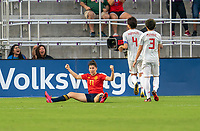 ORLANDO, FL - MARCH 05: Lucia Garcia #17 of Spain celebrates during a game between Spain and Japan at Exploria Stadium on March 05, 2020 in Orlando, Florida.