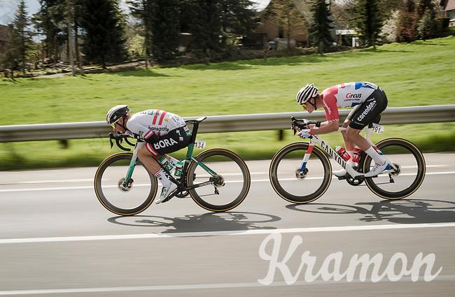 Lukas Pöstlberger (AUT/BORA - hansgrohe) & Mathieu Van Der Poel (NED/Correndon-Circus) speeding towards Waregem<br /> <br /> 74th Dwars door Vlaanderen 2019 (1.UWT)<br /> One day race from Roeselare to Waregem (BEL/183km)<br /> <br /> ©kramon