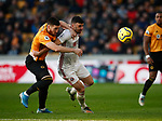 Enda Stevens of Sheffield Utd  and Matt Doherty of Wolverhampton Wanderers  during the Premier League match at Molineux, Wolverhampton. Picture date: 1st December 2019. Picture credit should read: Simon Bellis/Sportimage