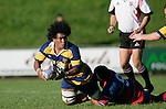 Haani Hala'eua is tackled by Kaino Kaino.McNamara Cup final - Premier 1 Championship, Patumahoe v Ardmore Marist. Patumahoe won 13 - 6. Counties Manukau club rugby finals played at Growers Stadium, Pukekohe, 24th of June 2006.